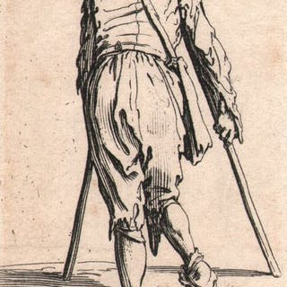 Jacques Callot ( 1592-1632 ) - Man in rags walking on crutches - Original