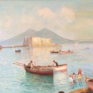 Antonio Perciavalle- paesaggio Marino Napoletano con barche