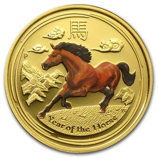 Australien - 25 Dollars 2014 Year of the Horse - Coloured 1/4 oz - Gold
