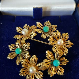 14 kt. Akoya pearls, Yellow gold - Brooch
