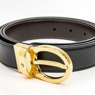 Montblanc - Black/brown Classic Reversible Leather Belt (Ref. 38579) Belt