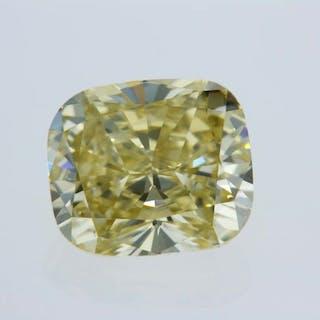 1 pcs Diamond - 2.07 ct - Cushion - fancy intens brownish yellow - VVS2