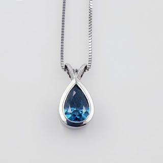 14 kt. White gold - Necklace with pendant - Colour Treated 0.47 ct Diamond - VV1