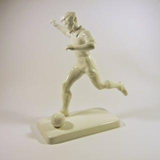 "Herend - ""Football Sport Soccer"" Art Deco Figurine 27 cm. - Porcelain"