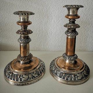 Sheffield victorienne antique set de 2 chandeliers à...