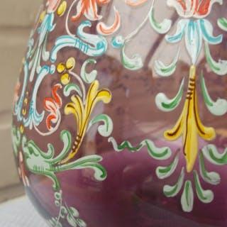 Schönes Glas, Vase in Kristall, handbemalt (1) - Kristall