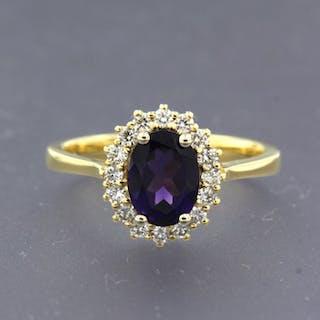 18 kt. Yellow gold - Ring - 1.00 ct Amethyst - Diamond