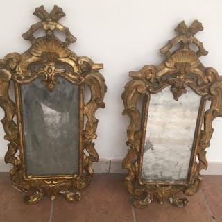 Coppia di specchiere veneziane (2) - Rococò - Dorato, Legno - XVIII secolo