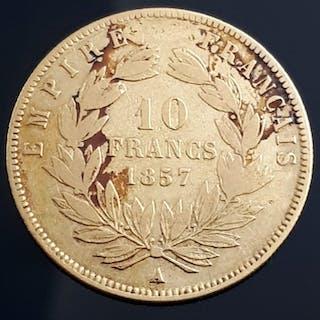 France - 10 Franc 1857 A Napoleon III - Gold