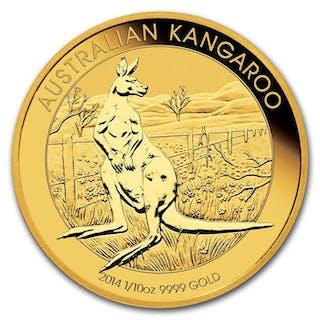 Australia - 15 Dollars 2014 Perth Mint Australien Nugget Känguru 1/10 oz - Gold