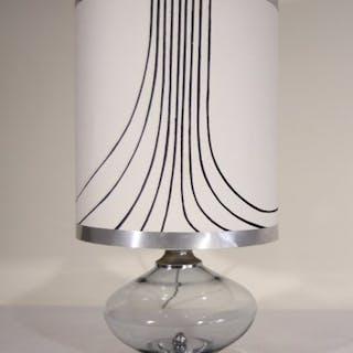 70er Jahre Design Tischlampe aus Stahl und Rauchglas