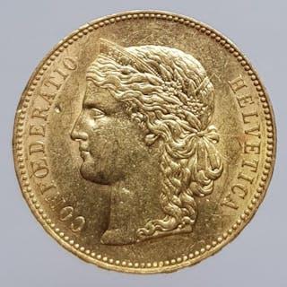 Switzerland - 20 Franc 1891-B Helvetia - Gold