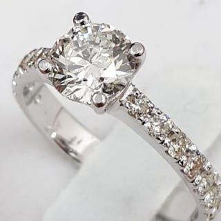 18 kt. White gold - Ring - 1.01 ct Diamond - Diamonds