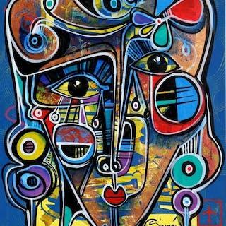 Simeón Gonzales - Rostro en Azul Andino