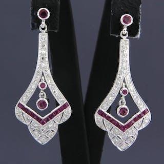 14 kt. White gold - Earrings - 0.50 ct Diamond - Rubys