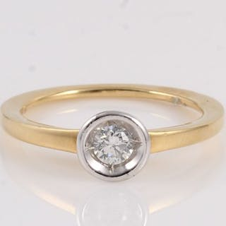 18 kt. White gold, Yellow gold - Ring - 0.20 ct Diamond