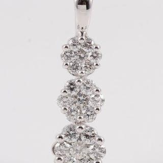 18 kt. White gold - Pendant - 1.01 ct Diamond