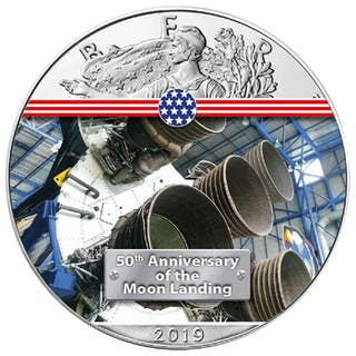 USA - 1 Dollar 2019 American Eagle 50 Jahre Mondlandung...