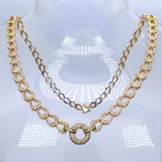 18 kt. Gold - 2.31 Ct - diamond necklace - 270 diamonds.