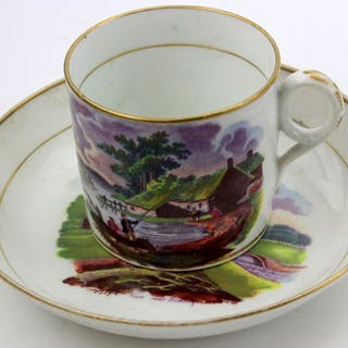 """Antique cup and saucer, with"""" View near Romney """" Ca.1802 - Softpaste porcelain"""