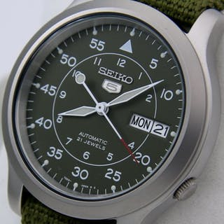 "Seiko - Automatic 21 jewels Green ""Military Style"" - ""NO..."