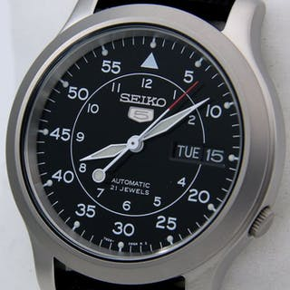 "Seiko - Automatic 21 jewels Black ""Military Style"" - ""NO..."