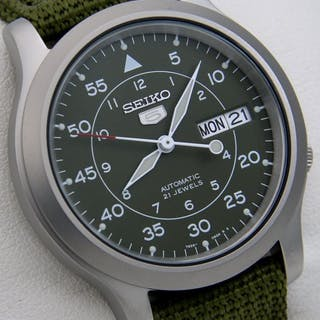 """Seiko - Automatic 21 jewels Green """"Military Style"""" -..."""