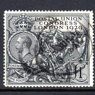 Großbritannien 1929 - KGV £1 Black PUC Used - Stanley Gibbons SG438
