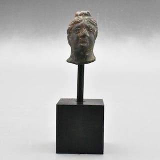 Ancient Romano-Celtic Schist Head of Goddess Mounted on a Stand