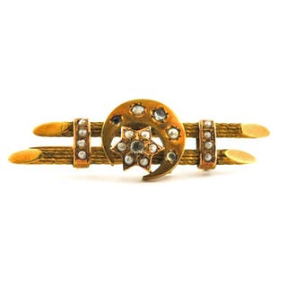 Authentic Antique Late 19th Century- 18 kt. Yellow gold - Brooch Pearl - Diamond