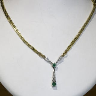 18 kt. Yellow gold - Necklace - 0.25 ct Diamond - Emerald