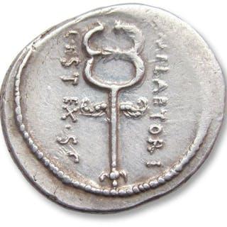 Roman Republic - AR Denarius, M. Plaetorius Cestianus, Rome 69 B.C. - Silver