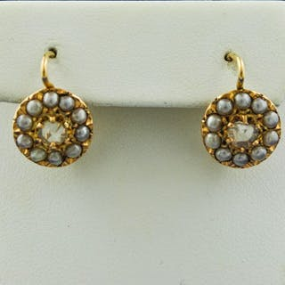 """Authentic Antique""""Dormeuse"""" - 18 kt. Yellow gold - Earrings Pearl - Diamond"""