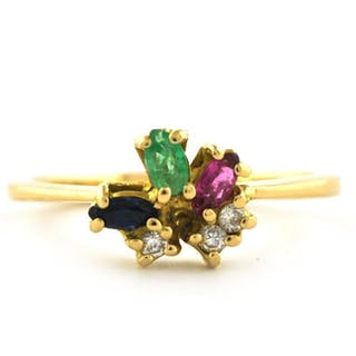 18 kt. Yellow gold - Ring Diamond - Emerald, Ruby, Sapphire