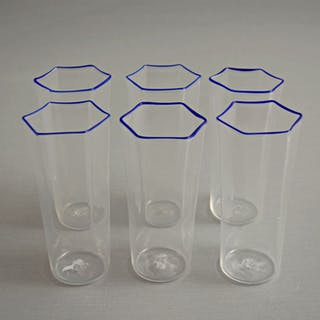 Attr. MVM Cappellin - Hexagonal glasses (6) - Glass