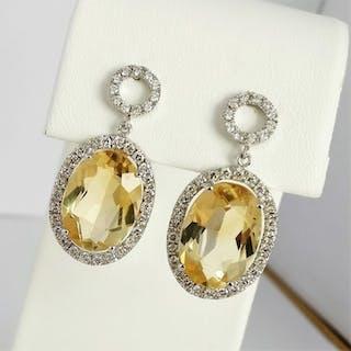 18 kt. White gold - Earrings - 9.77 ct Citrine - Diamonds