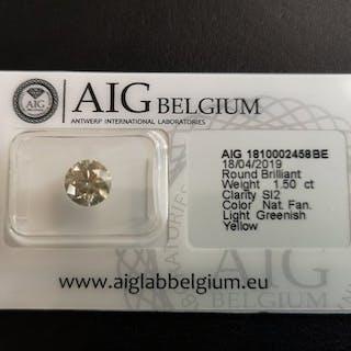 1 pcs Diamond - 1.50 ct - Round - fancy light greenish yellow - SI2