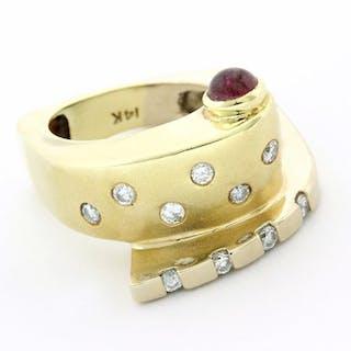 14 kt. Yellow gold - Ring - 0.20 ct Diamond - Ruby