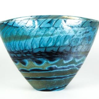 Yalos Murano - Cup Centerpiece Turquoise black band - Glass