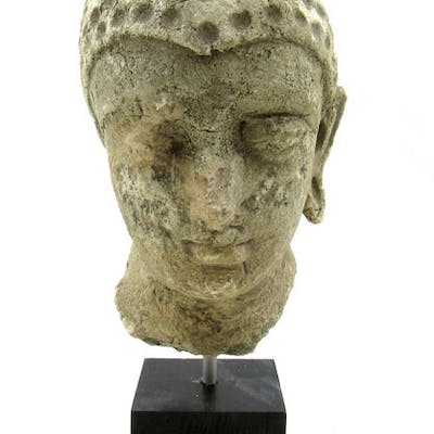 Gandhara Stucco Buddha Head Mounted on Stand