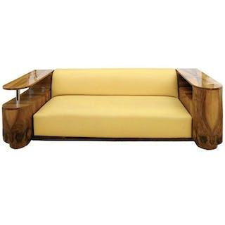 French Art Deco - Divano in pelle / noce accogliente angolo (restaurato) (1)