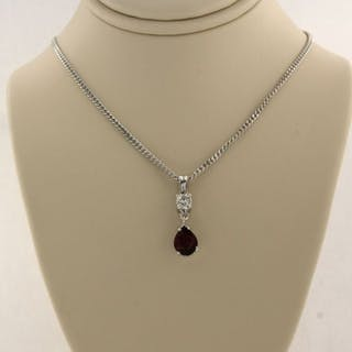 14 kt. White gold - Necklace with pendant - 0.95 ct Garnet - Diamond