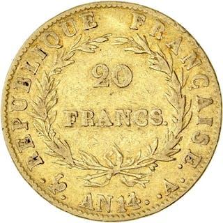 France - 20 Francs An 14-A Napoléon I - Gold