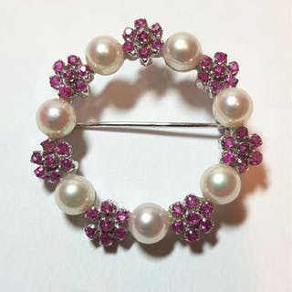 Valenzana, made in Italy - 18 kt. White gold - Brooch Pearl - Rubys