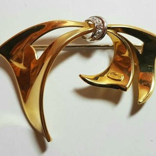 Recarlo - Made in Italy - 18 kt. White gold, Yellow gold - Brooch Diamond