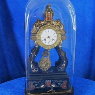 Reloj de sobremesa - Cristal, madera, metal, acero - Mediados del siglo XIX
