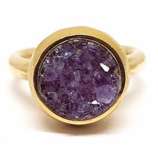 18 kt. Gold - Ring - 4.00 ct Amethyst