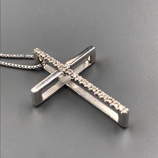 18 quilates Oro blanco - Collar con colgante - 0.09 ct Diamante