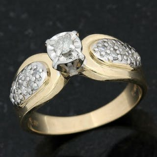 14 kt. White gold, Yellow gold - Ring - 0.25 ct Diamond