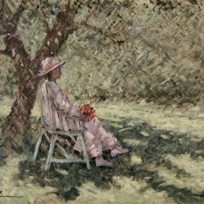 """Chris van Dijk (1952) -  """"Lady sitting in the shade of a tree"""""""